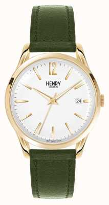 Henry London Chiswick Green Leather Strap White Dial HL39-S-0098