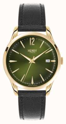 Henry London Chiswick Black Leather Strap Green Dial HL39-S-0100
