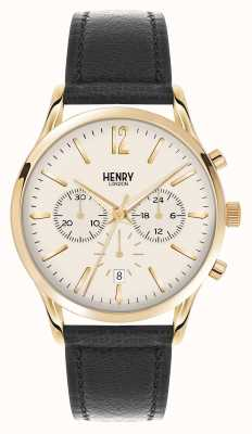 Henry London Westminster Black Leather Strap Chronograph HL41-CS-0018