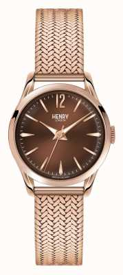 Henry London Harrow Rose Gold Plated Mesh Chocolate Dial HL25-M-0044