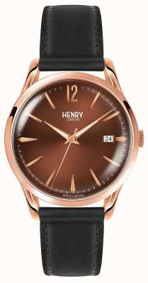 Henry London Harrow Black Leather Strap Chocolate Dial HL39-S-0048