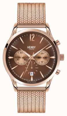 Henry London Harrow Rose Gold Plated Mesh Chronograph HL41-CM-0056