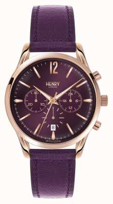 Henry London Hampstead Purple Leather Strap Chronograph HL39-CS-0092