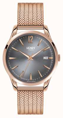Henry London Finchley Rose Gold Mesh Grey Dial HL39-M-0118