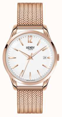 Henry London Richmond Rose Gold Plated Mesh White Dial HL39-M-0026