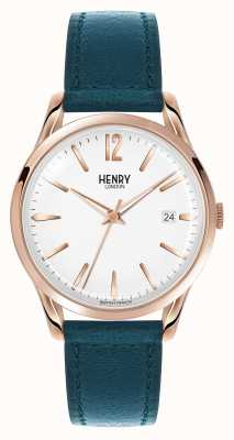 Henry London Stratford Blue Leather Strap White Dial HL39-S-0132