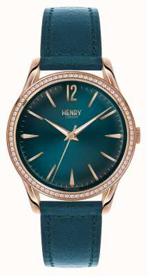Henry London Stratford Blue Leather Strap Blue Dial HL39-SS-0140