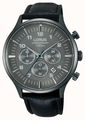 Lorus Mens Black Leather Strap Black Dial RT311FX9