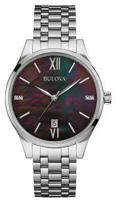 Bulova Womens Stainless Steel Bracelet Black Dial 96S162