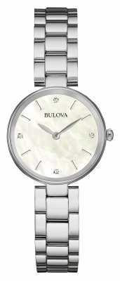 Bulova Womens Stainless Steel Bracelet White Dial 96S159