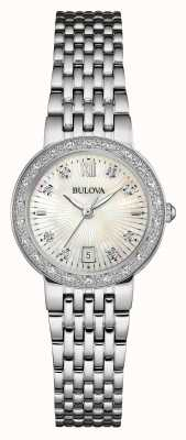 Bulova Womens Stainless Steel Diamond Set White Dial 96W203