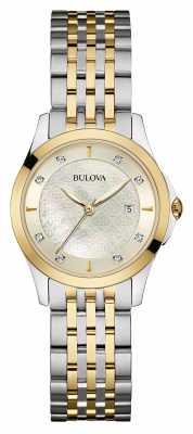 Bulova Ladies Two Tone, Diamond Set, Silver Dial 98S148