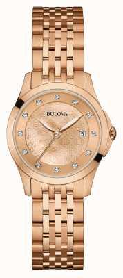 Bulova Womens Rose Gold Plate,  Diamond Set Dial 97S112
