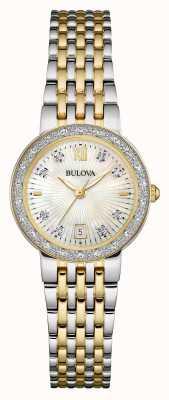 Bulova Ladies Two Tone, Diamond Set, Pearl Dial 98W211