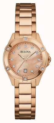 Bulova Ladies Rose Gold Plate, Diamond Watch 97W101