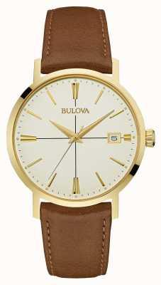 Bulova Men's Aerojet Brown Leather Strap Cream Dial 97B151