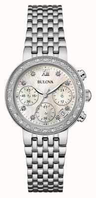 Bulova Ladies Stainless Steel Diamond Set Chrono 96W204