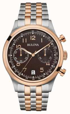 Bulova Mens Two Tone Bracelet Chronograph Black Dial 98B248