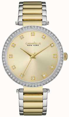 Caravelle New York Ladies Two Tone T Bar Watch 45L154