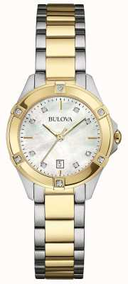 Bulova Ladies Two Tone Diamond Gallery Watch 98W217