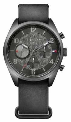 Tommy Hilfiger Mens Corbin Black Leather Strap Black Dial 1791189