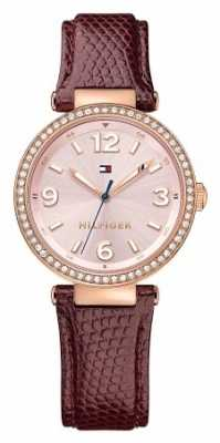 Tommy Hilfiger Womens Lynn Brown Leather Strap Pink Dial 1781588