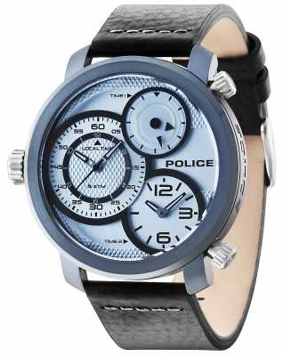 Police Mens Mamba Black Leather Strap Blue Dial 14500XSUY/04
