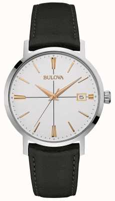 Bulova Mens Black Leather Strap White Dial 98B254