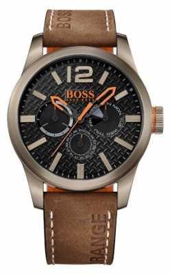 Hugo Boss Orange Mens Paris Brown Leather Strap Black Dial 1513240