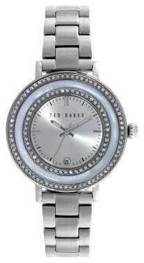 Ted Baker Womens Stainless Steel Stone Set Silver Dial TE4106