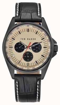 Ted Baker Mens Black Leather Strap Cream Dial TE1114