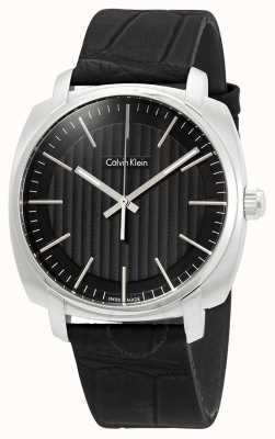 Calvin Klein Mens Highline Black Leather Strap Black Dial K5M311C1