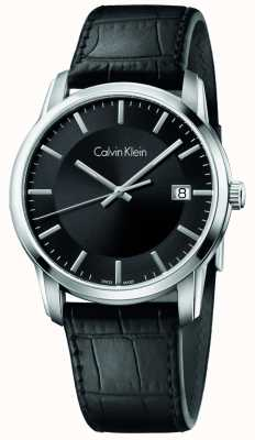 Calvin Klein Mens Infinite Black Leather Strap Black Dial K5S311C1