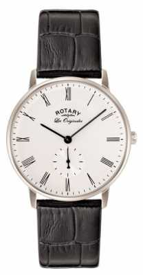 Rotary Mens Les Originales Black Leather White Dial GS90050/01
