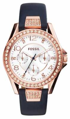 Fossil Womens Riley Blue Leather Silver Dial ES3887
