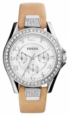 Fossil Womens Riley Brown Leather Silver Dial ES3889