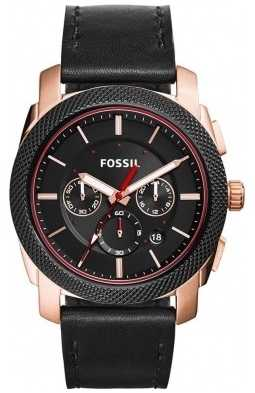 Fossil Mens Machine Black Leather Black Dial FS5120
