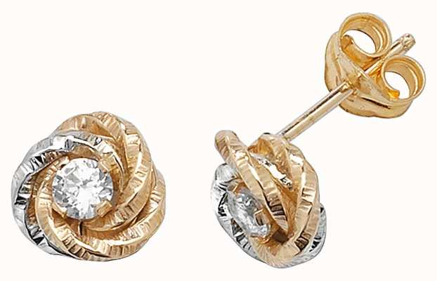 Treasure House 9k White and Yellow Gold Diamond Stud Earrings ES371
