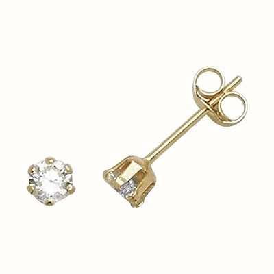 Treasure House 9k Yellow Gold Cubic Zirconia Stud Earrings 3 mm ES210