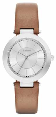 DKNY Womens Stanhope Brown Leather Silver Dial NY2293