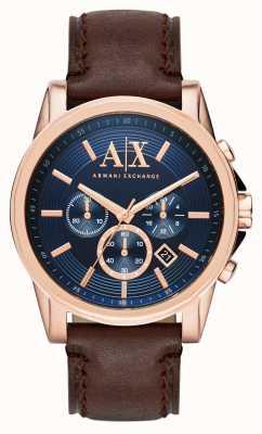 Armani Exchange Mens Blue Dark Brown Chronograph AX2508
