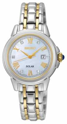 Seiko Womens Solar 5 Diamonds Two Tone SUT244P9