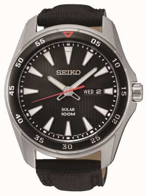 Seiko Mens Solar Black Canvas Strap Black dial SNE393P2