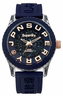 Superdry Womens Tokyo Shimmer Dial Blue Rubber Strap SYL174URG