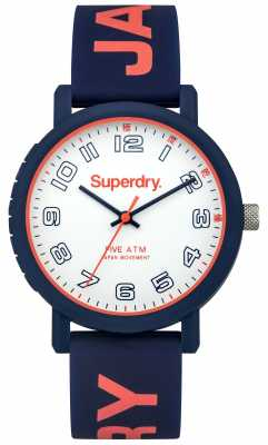 Superdry Womens Blue Rubber Strap White Dial SYL196U