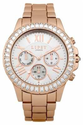 Lipsy Womens Rose Gold PVD Plated White Dial LP381