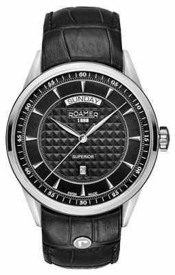 Roamer Mens Superior Black Leather Strap Black Dial 508293415505