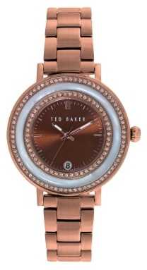 Ted Baker Womens Rose Gold PVD Plated Brown Dial TE4107