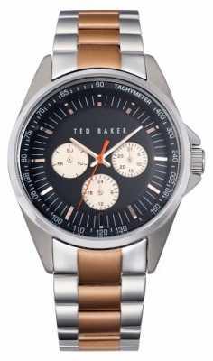 Ted Baker Mens Two Tone Bracelet Black Dial TE3051
