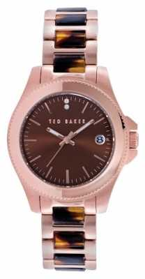 Ted Baker Womens Rose Gold PVD Plated Brown Dial TE4100